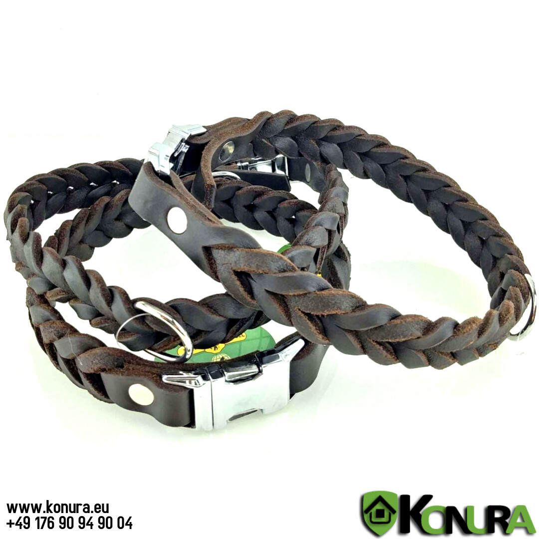 Geflochtener Leder-Halsband mit Schnellverschluss-Schnalle Klin Kassel