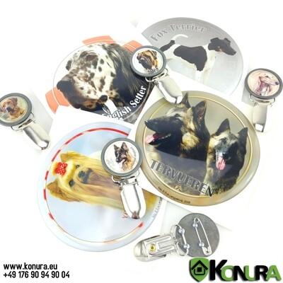 Dreidimensionale Aufkleber, Nummernschildhalter und Schlüsselanhänger mit Hundebildern