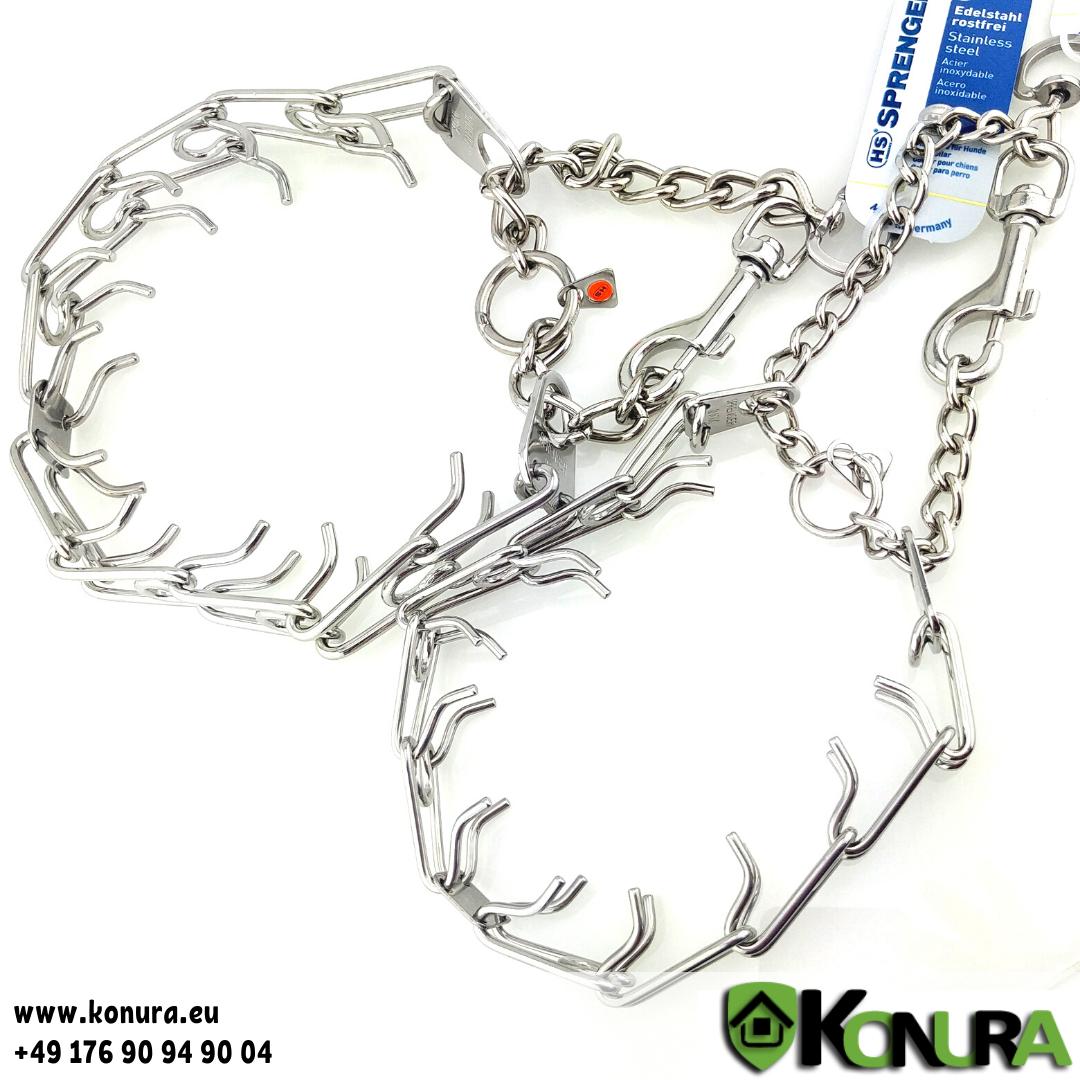 Dressurhalsband ULTRA-PLUS mit Kette, Karabinerhaken und Wirbel Sprenger