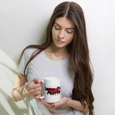 White glossy mug Red Splash