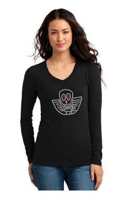 JOE PERRY BONEYARD LOGO BLING LONG SLEEVE LADIES V NECK UP TO 4XL