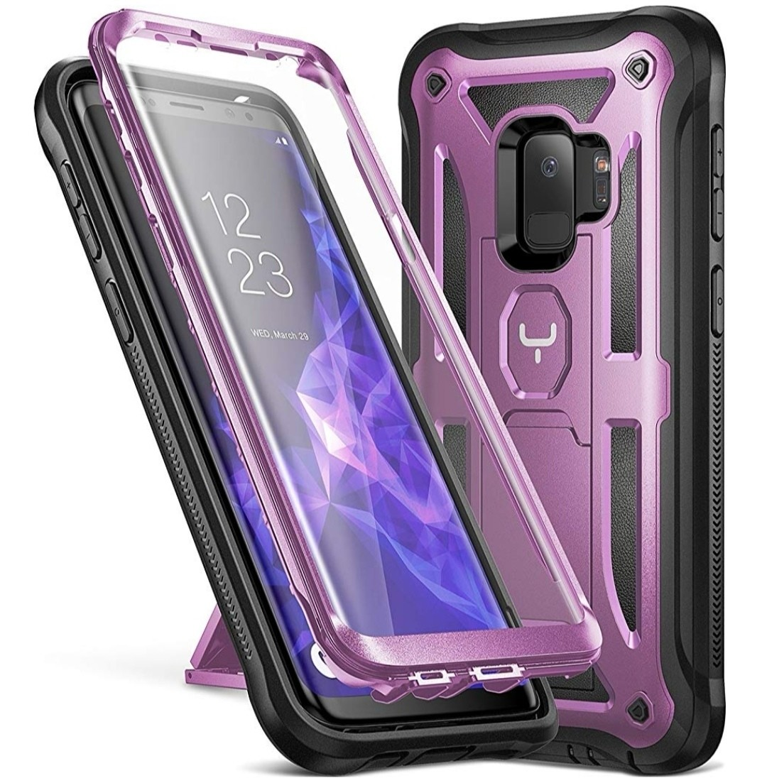 Case Galaxy S9 Normal Protector 360 c/ Parante Vert Horz Púrpura con Negro