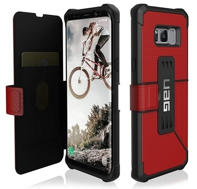 Case Carcasa Galaxy S8 Plus Flip Antigolpes UAG USA Rojo con bordes Negros