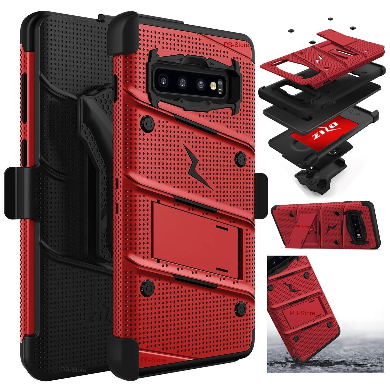 """Case Galaxy S10 de 6.1"""" Normal c/ 2 parantes y tapa gancho Militar - Rojo Vino con Negro"""