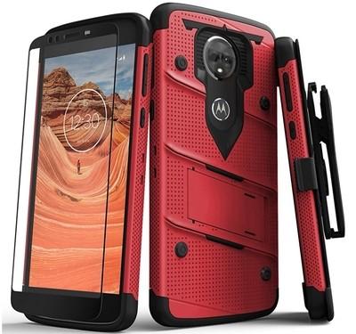 Case Moto E5 Plus c/ Vidrio Templado Rojo con Negro - Zizo