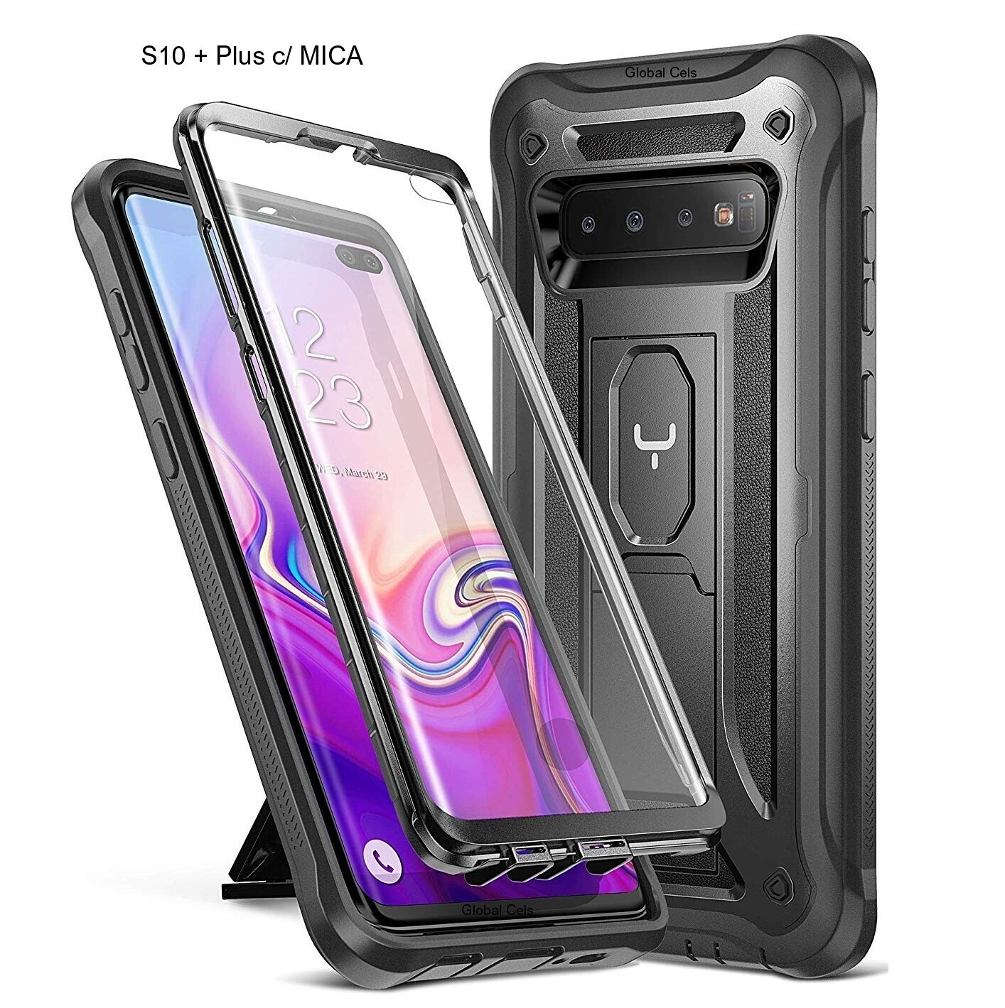 Case Galaxy S10 Plus 6.4 2019 c/ Mica Especial Integrada Carcasa Antigolpes c/ Parador Vertical y Horizontal