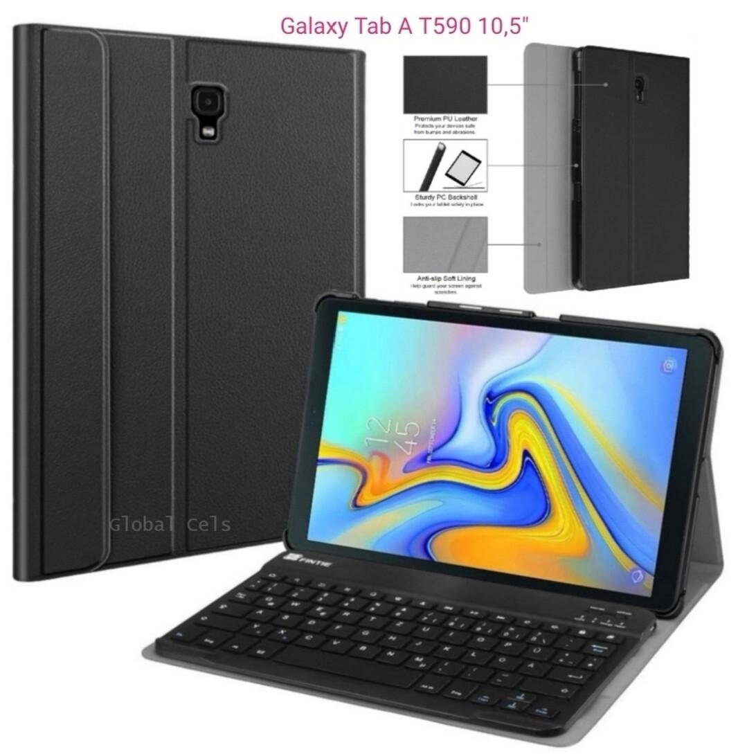 """Case c/ Teclado Galaxy Tab A 10,5"""" SM-T590 2018 Bluetooth Fintie USA - Negro"""