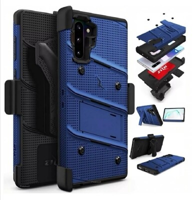 Case Galaxy Note 10 Plus Azul Negro c/ Gancho Correa de 3 partes