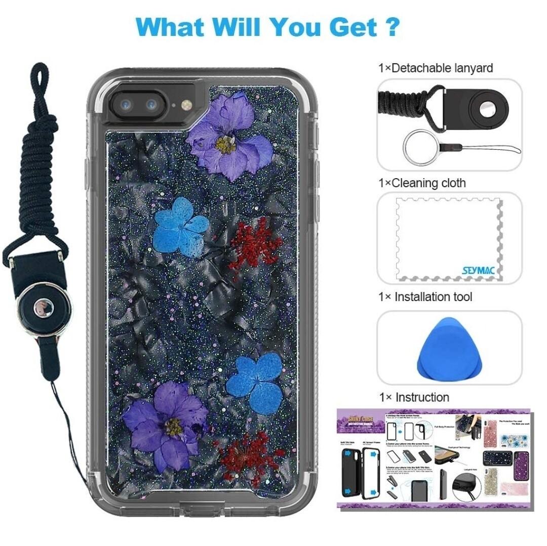 Case Funda iPhone 8 Plus/iPhone 7 Plus/iPhone 6 Plus/6S con flores secas SeyMAC - Negro