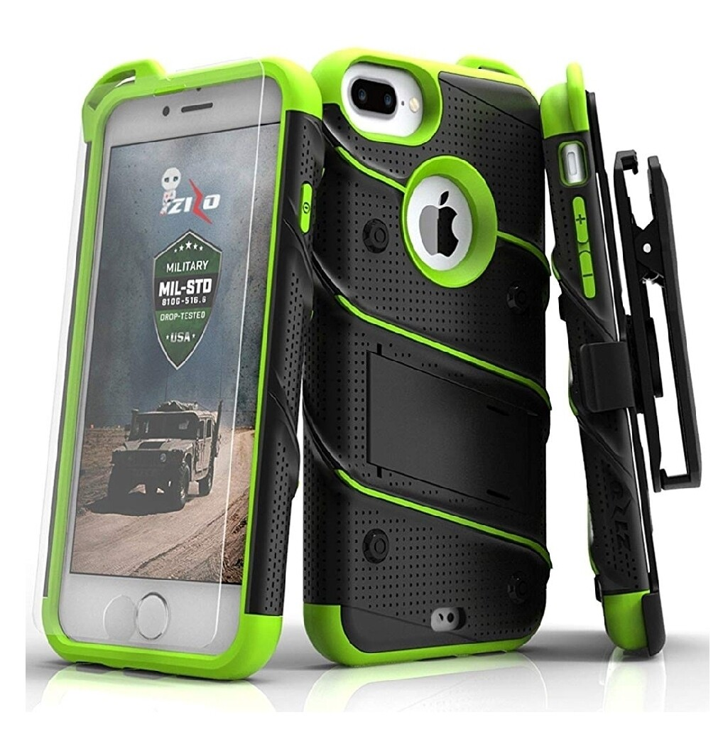 Case Iphone 7 Plus Zizo Z-bold Verde con Negro c/ Parador c/ Gancho