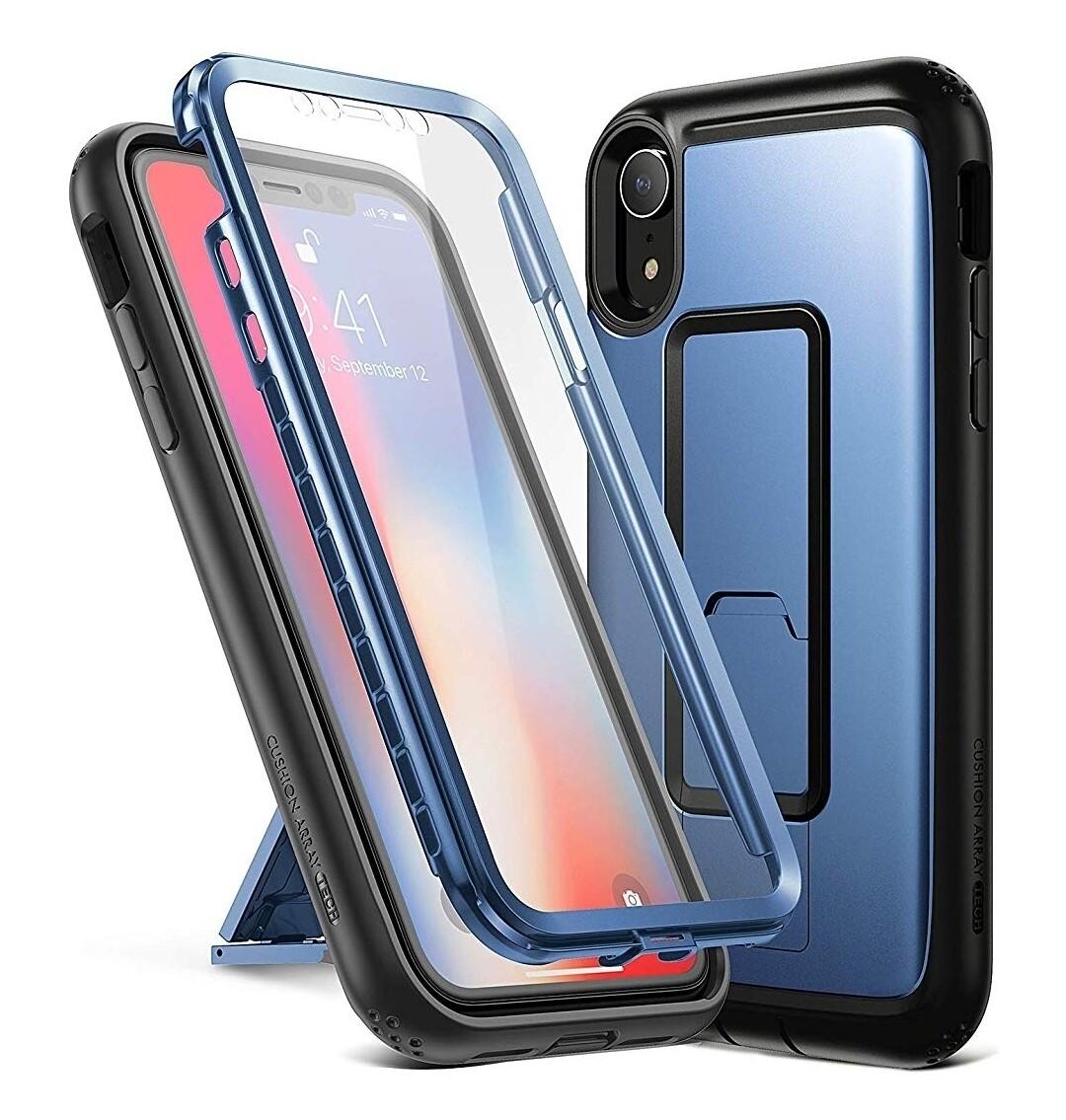 """Case Iphone XR 6,1"""" c/ Parador Vertical y Horizontal c/ Gancho Correa - Azul"""