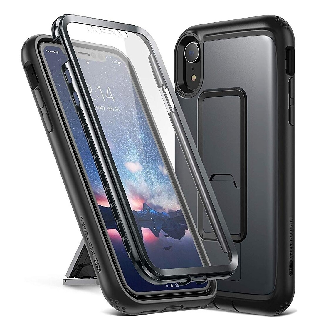 """Case Iphone XR 6,1"""" c/ Parador Vertical y Horizontal c/ Gancho Correa - Negro"""