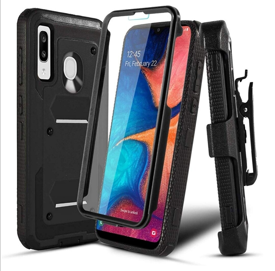 Case Funda Galaxy A20 / A30 / A50 c/ Clip Correa c/ Mica Integrada - Varios Colores