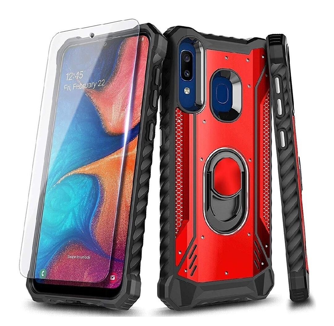 Case Samsung Galaxy A30 / A20 c/ Vidrio Templado c/ Anillo Parante Metal