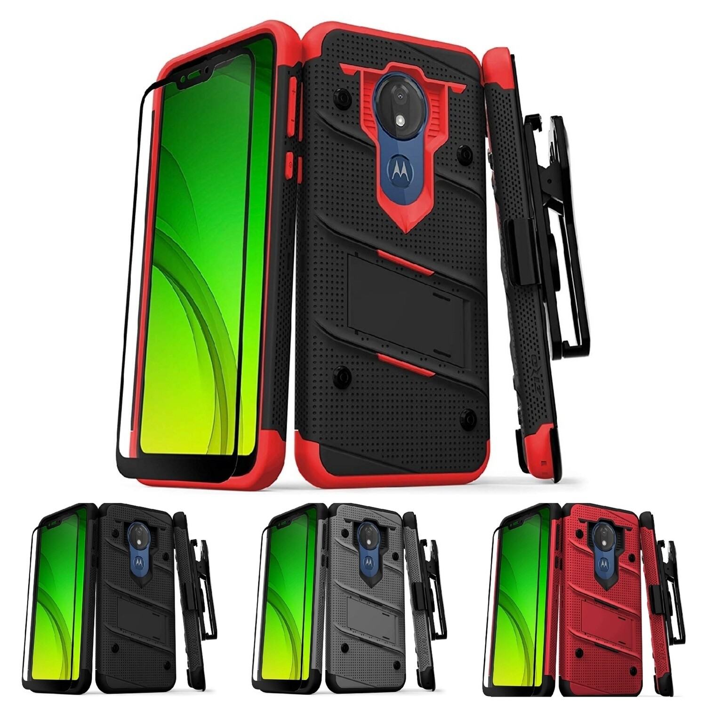 Case Zizo Moto G7 Power c/ Gancho c/ Vidrio Templado 4 Colores