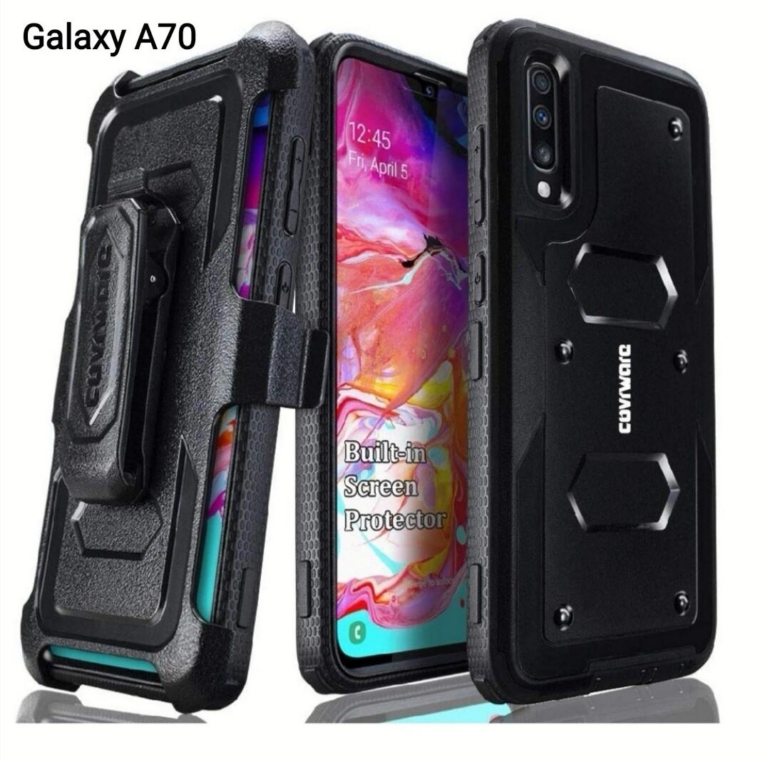 Case Galaxy A70 2019 Funda Recias 360° de protección c/ Mica c/ Gancho Parante