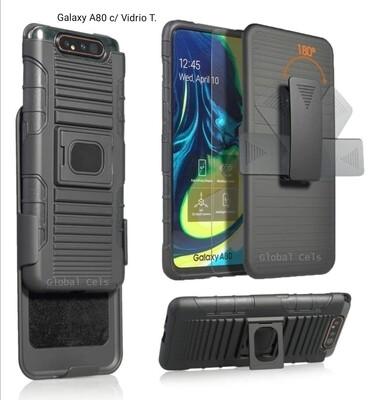 Case Galaxy A80 c/ Clip Correa Gancho c/ Vidrio Templado