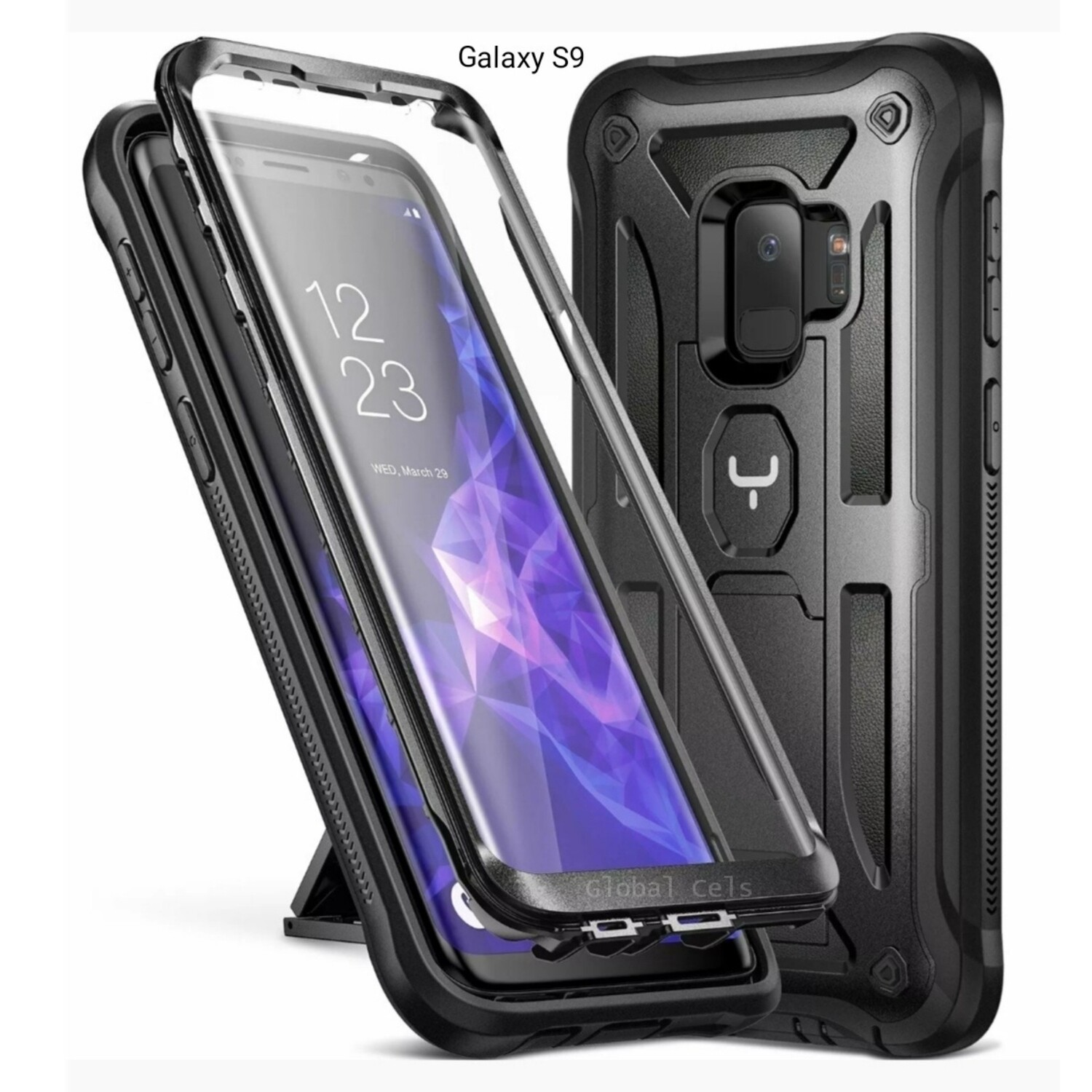 Case Funda Galaxy S9 Negros c/ parador vertical y horizontal