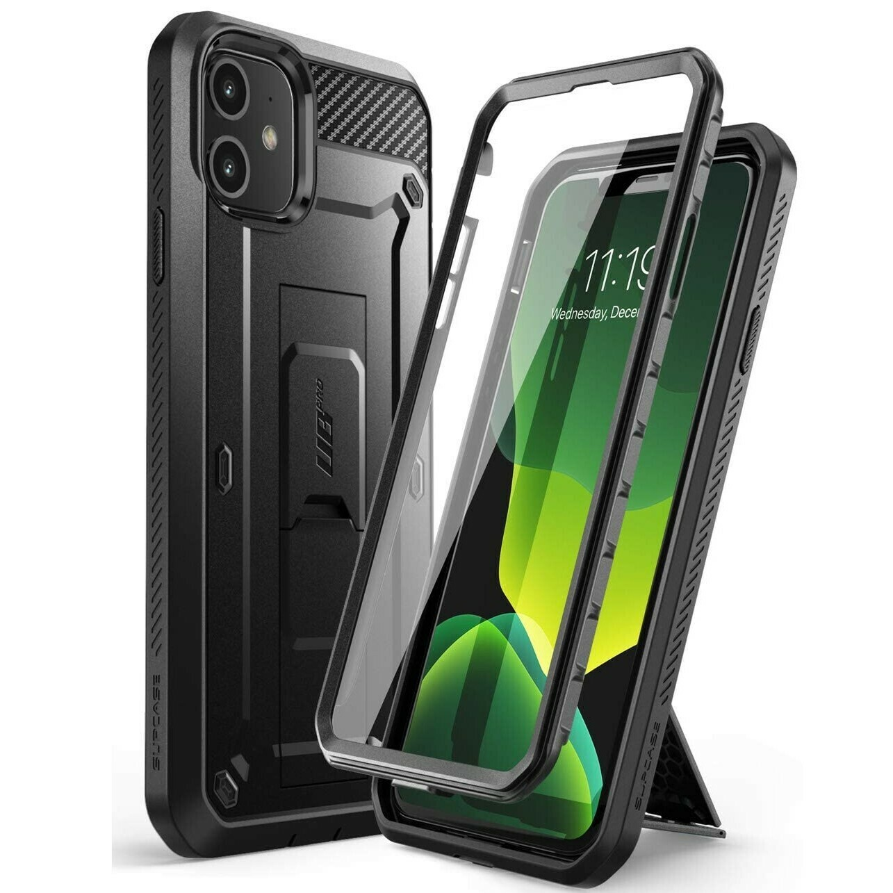 "Case Iphone 11 de 6.1"" Super Carcasa c/Mica c/ Tapa Gancho c/Parante"