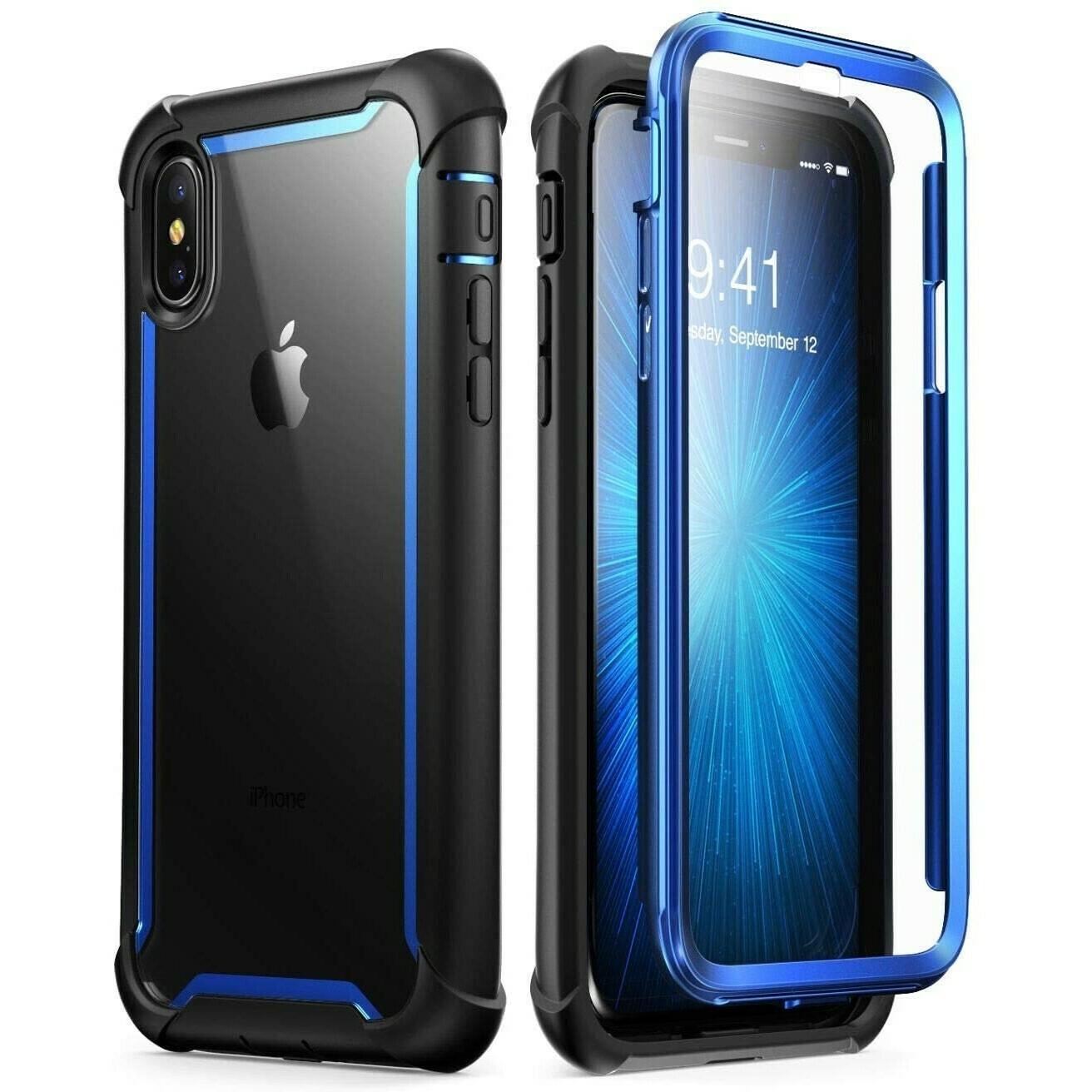 Carcasa iPhone Xs / X Azul con Negro de Tapas Pc Trasero Transparente
