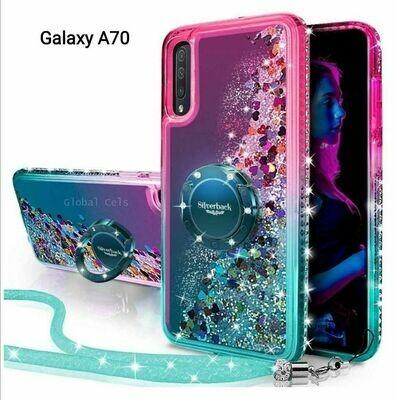 Case Funda Galaxy A70 Femenina Rosado Turquesa c/ Anillo Parante Metal