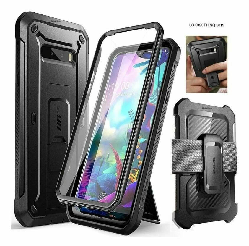 Case Funda LG G8X thinQ (2019) Funda Resistente de cuerpo completo c/ Protector de pantalla c/ Parante c/ gancho