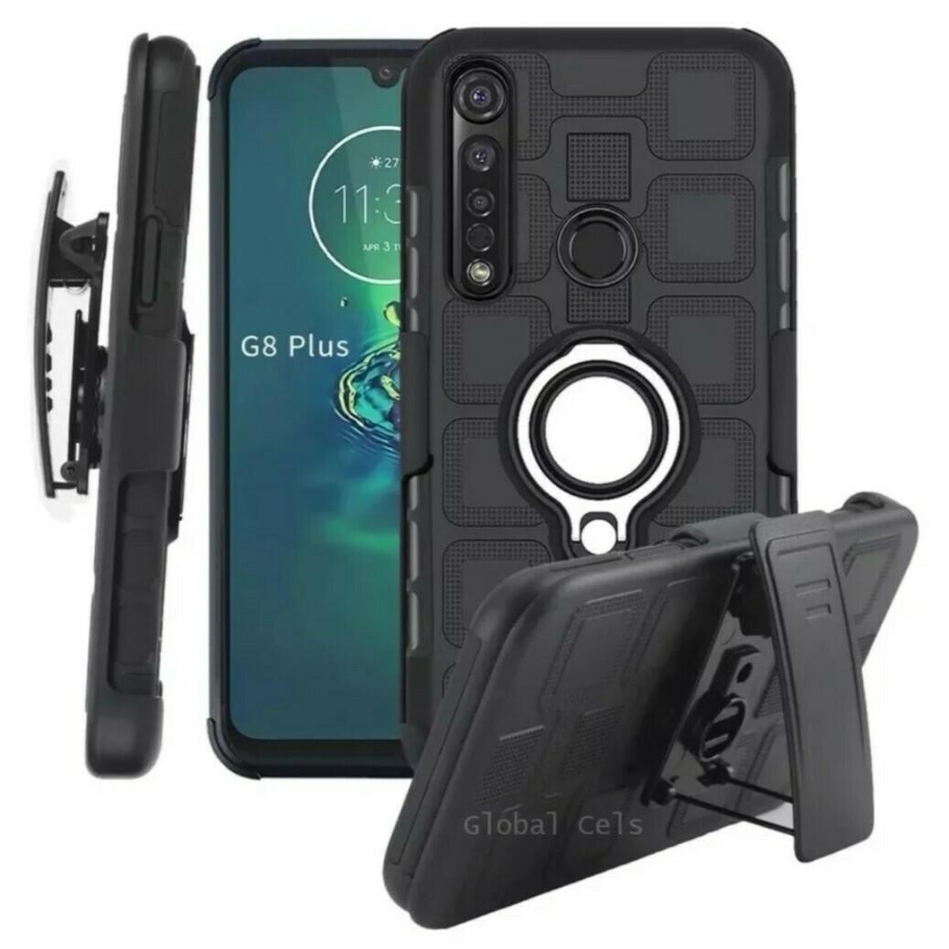 Case Moto G8 Plus / G8 Play / E6 Plus / One Macro / One Action c/ Clip Gancho Parante Anillo Metal