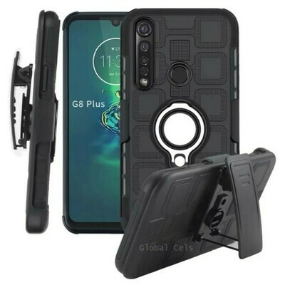 Case Moto G8 Plus / G8 Play / E6 Plus / One Macro / One Action c/ Clip Gancho Parante Anillo Metal