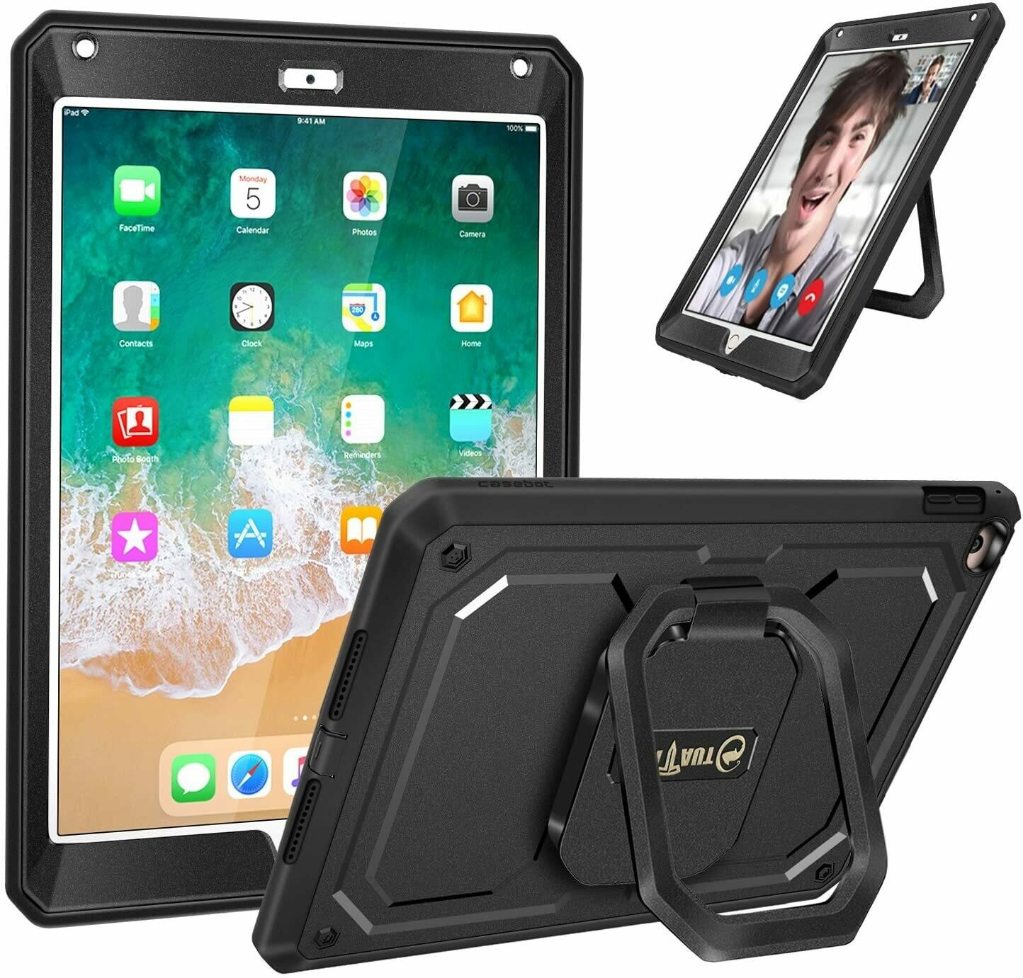 """Case Recio iPad de 9,7"""" 2018/2017 Funda c/ Magic Ring Multi ángulos de Visión - Negro"""