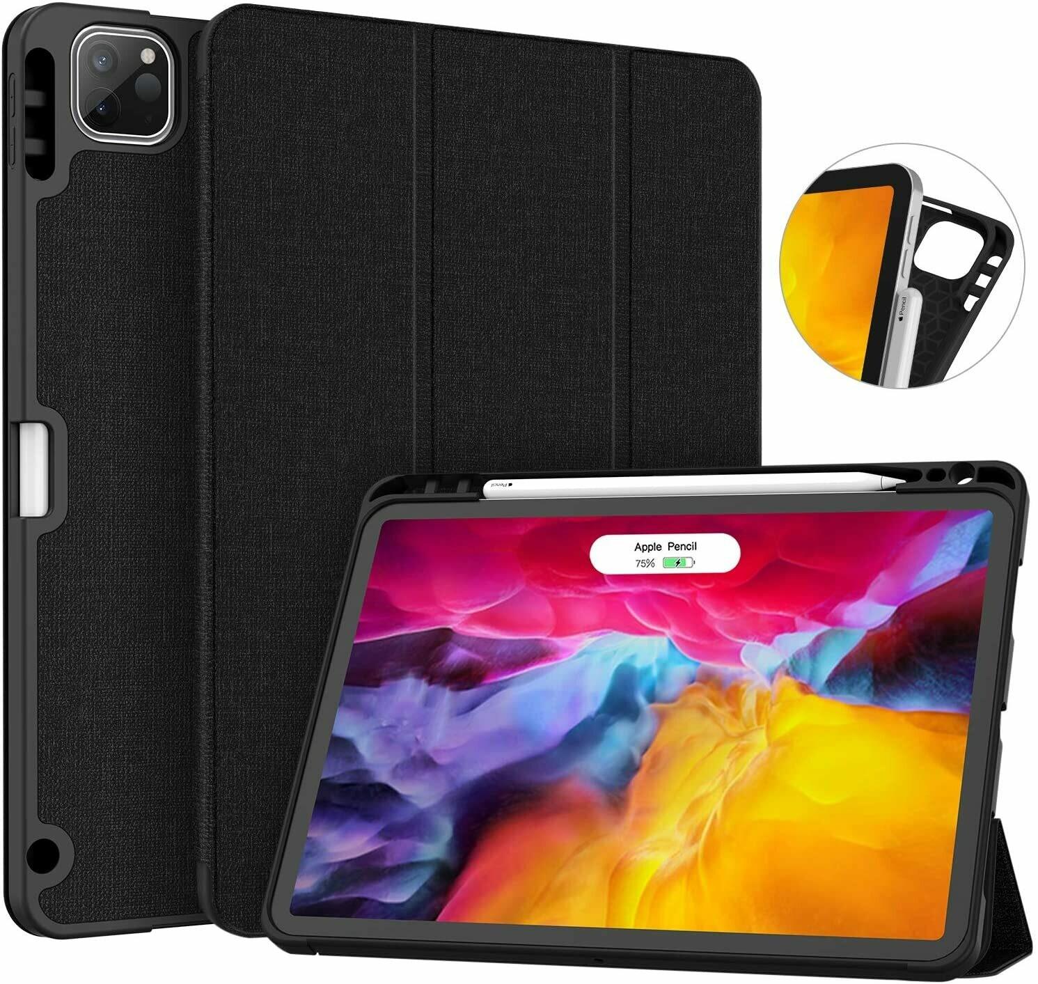 Case Flip iPad Pro 11 2020 c/ Soporte Lápiz c/ Apagado Automático Negro
