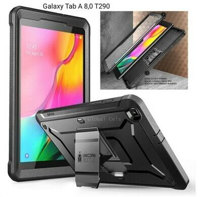 Case Protector Galaxy Tab A 8.0 T290 2019 Funda 360 c/ Mica c/ Soporte Negro