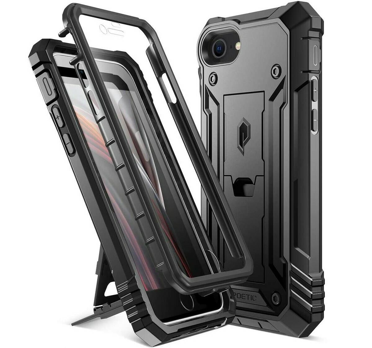 Case Iphone 7 c/ Parante de 3 partes c/ 2 Marcos s/con Mica Incorporada Negro