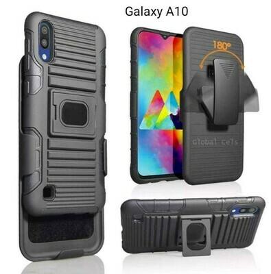 Case Galaxy A10 con Vidrio templado con Soporte y Gancho Correa