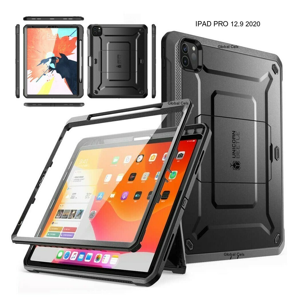 Case Ipad Pro 12,9 2020 Super Carcasa con Porta Lápiz y Soporte Inclinable Negro
