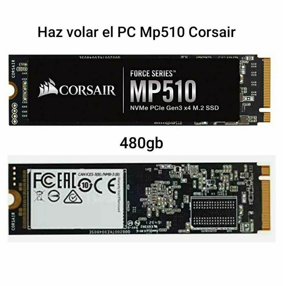 SSD M2 3480 mb/sec Disco Sólido Corsair M2 NVMe 480Gb 22x80 Mp510 Super Rápido