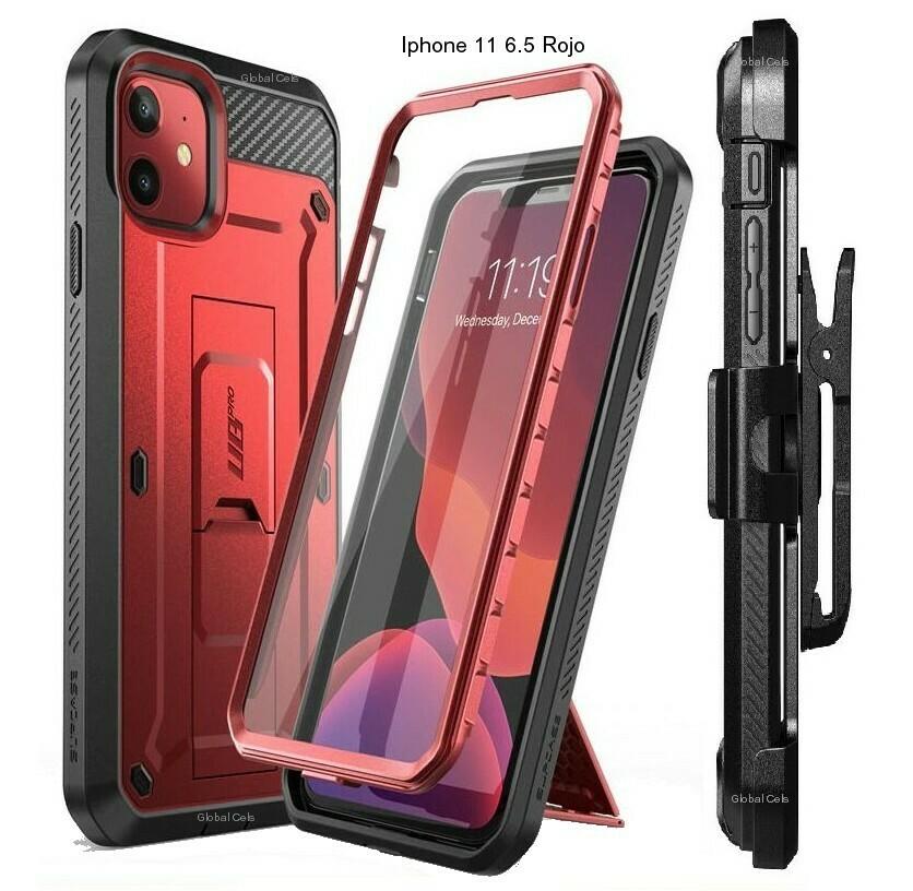 """Case Recio Iphone 11 6.1"""" Rojo Vino c/ Protector de Pantalla Gancho y Parante"""
