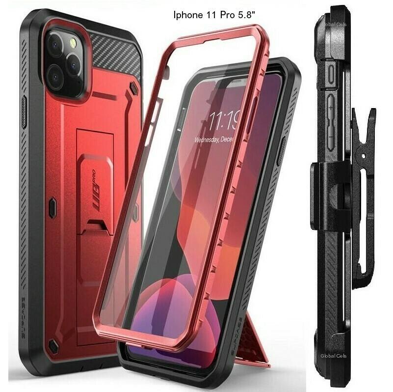 """Case Iphone 11 Pro 5.8"""" Recio Rojo Vino c/ Protector de Pantalla Gancho y Parante"""
