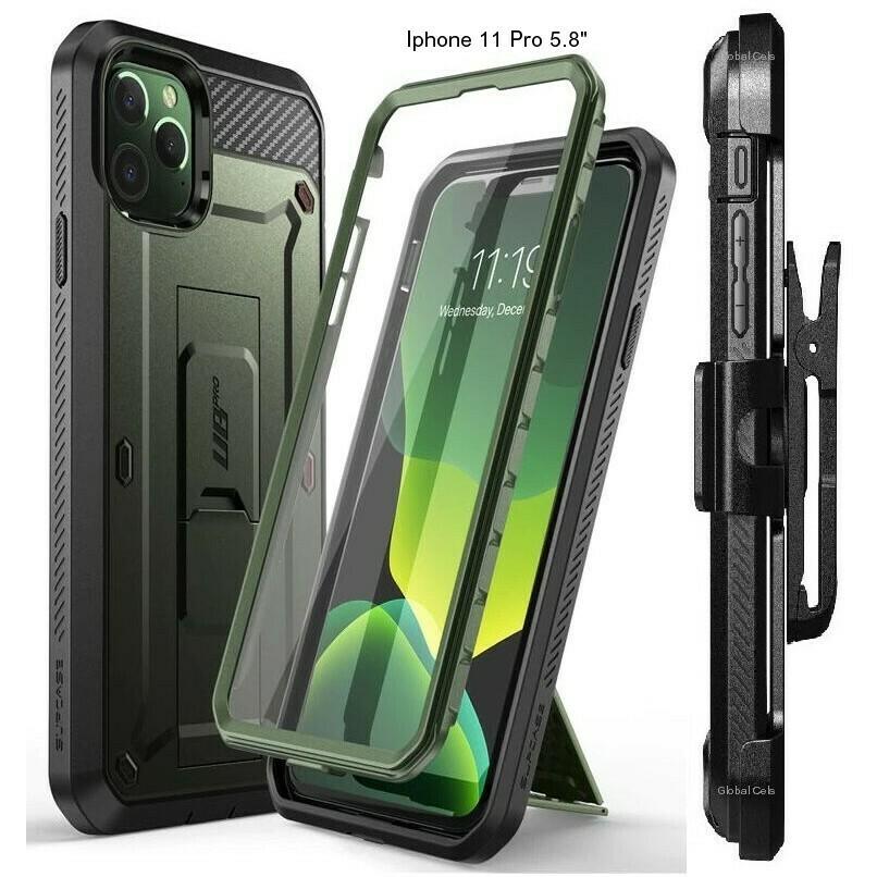 """Case Iphone 11 Pro 5.8"""" Verde Metálico militar c/ Protector de Pantalla Gancho y Soporte"""