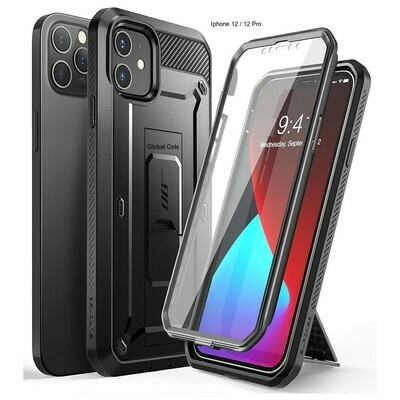 Case Iphone 12 / Iphone 12 Pro Carcasa Extrema c/ Gancho c/ Mica Integrada Negra