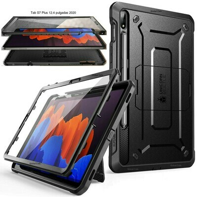 Case Protector Galaxy Tab S7 Plus 12.4 pulgadas 2020 Negro c/ Parante c/ Mica