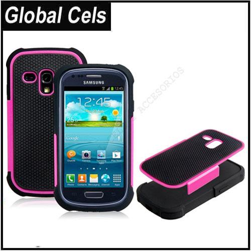 Estuche Fucsia Negro Samsung Galaxy S3 MINI Anti Deslizante de Silicona y Plástico