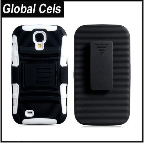 Estuche Samsung Galaxy S4 Clip para Correa Blanco y Negro de Gran Protección con Soporte de inclinación
