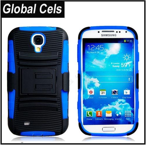 Estuche Samsung Galaxy S4 Con Clip Correa para Pantalón Soporte para Videos Color Azul Con Negro