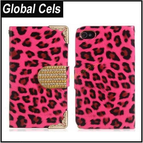 Estuche Funda Melocotón rojo Iphone 4 / 4S Leopardo con broche de Cristales