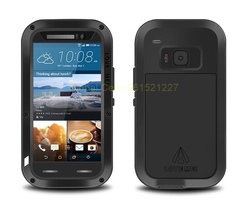 Love Mei HTC ONE M9 hecho de Aluminio en Negro con cristal Temperado incorporado