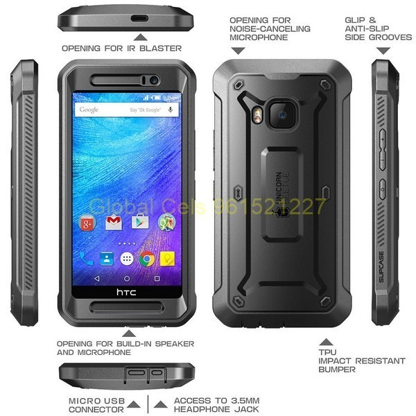 SUPCASE HTC ONE M9 protección 360 grados con Mica Incorporada y gancho para correa