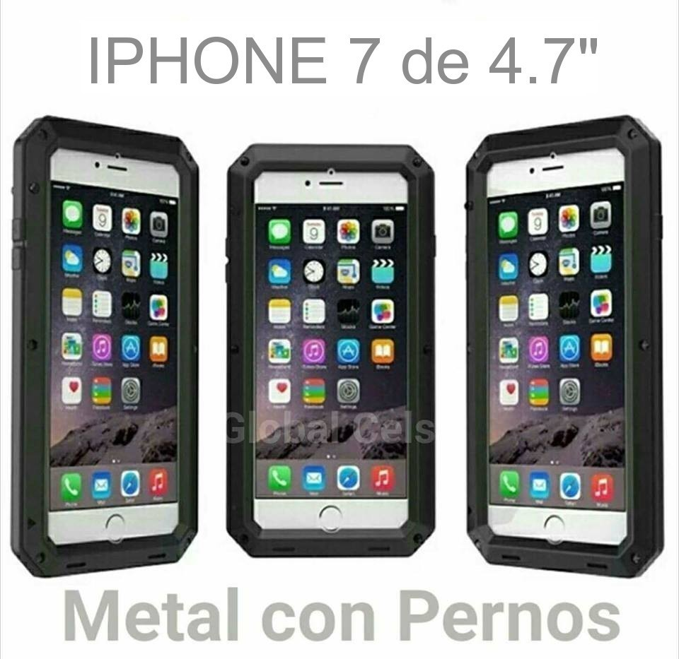 "Case Funda Iphone 7 de 4.7"" Metal con pernos atornillables más vidrio templado"