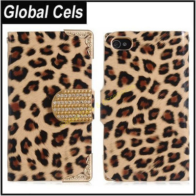 Estuche Case Iphone 4 / 4S Marrón claro Leopardo con broche de Cristales