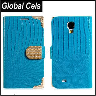 Estuche Galaxy S4 Samsung Turquesa Esquinas Metal Dorado Tarjetero Broche adornado de Cristales