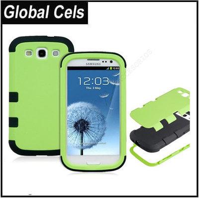 Estuche Samsung Galaxy S3 Verde Negro Robot de 3 Capas Reforzado de Extrema Protección
